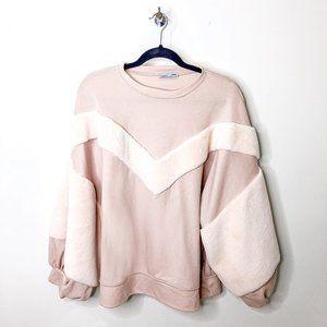 zara blush balloon sleeve pullover